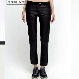 NWT•Golden Goose Treated Leather Cropped Jeans